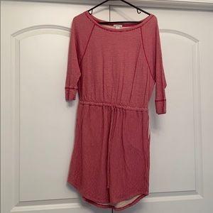 Caslon Red & White Striped Cinch Waist Dress, S